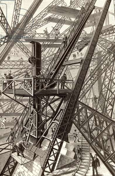 """Construction of the Eiffel Tower, Paris, France. General view of one of the cranes used for lifting components to the working level. From """"La Nature"""" (Paris, 1887)"""