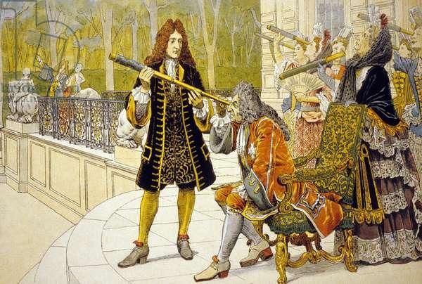 Louis XIV and Jacques Cassini (colour litho)