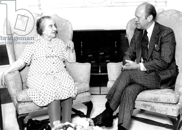 Golda Meir, Israeli Prime Minister, meeting americain President Gerald Ford at the White House in Washington mai 19, 1976