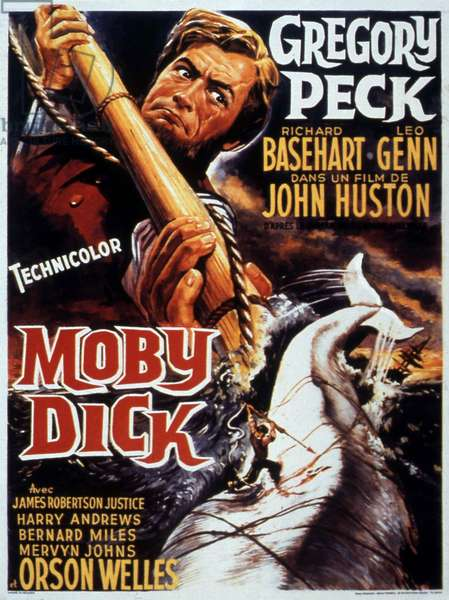 Affiche du film MOBY DICK de JohnHuston avec Gregory Peck (capitaine Achab), 1956 (d'apres HermanMelville)