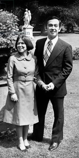 Princess Christina of Holland and her fiance Jorge Guillermo in the gardens of Palace Huis Ten Bosch in Den Hague annoncing their Wedding June 18, 1975