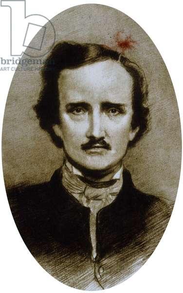Edgar Allan Poe (1809-1849) American poet and writer, drawing