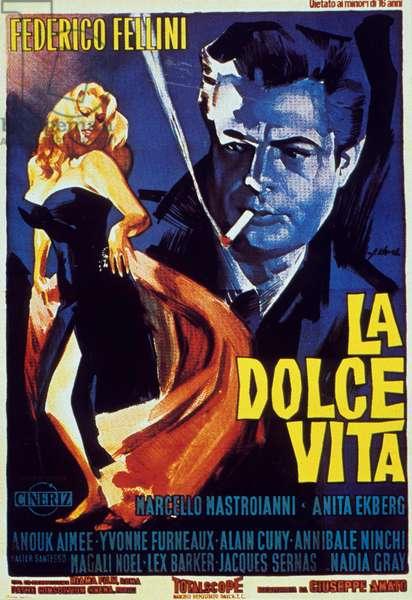 Affiche du film La dolce vita de Federico Fellini avec Marcello Mastroianni et Anita Ekberg 1960 (Palme d'or 1960 au Festival de film de Cannes)