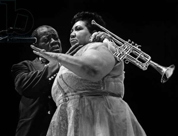 Louis Armstrong and Velma Middleton at a concert in London in 1956