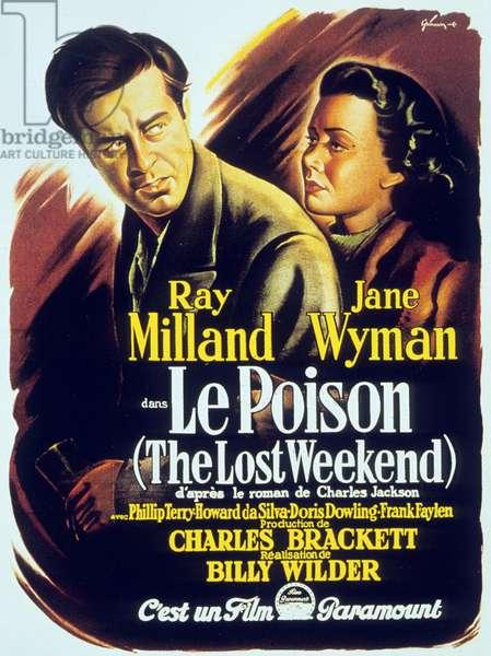Affiche du film Le poison The Lost Weekend de BillyWilder avec Ray Milland et Jane Wyman 1945 (Palmed'or1946)