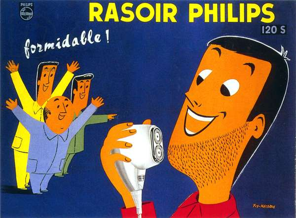 Advertising poster for Philips electric shaver, c.1959 (colour litho)