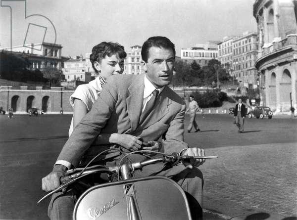 Vacances romaines avec Gregory Peck et Audrey Hepburn, 1953 (photo b/w)