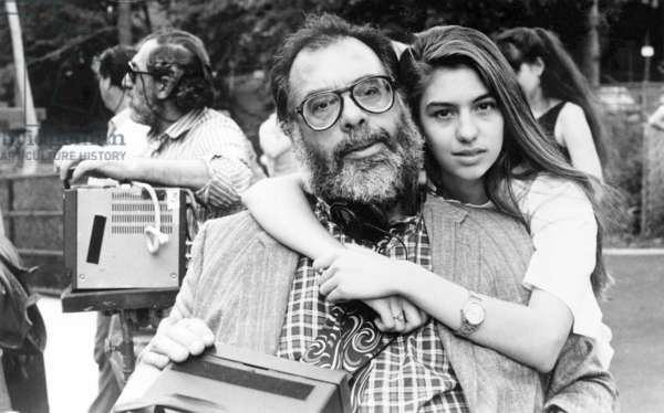 """SOFIA COPPOLA, with her father FRANCIS FORD COPPOLA, during filming of `Life Without Zoe' short movie in the film """" New York Stories """" which they co-wrote 1988-89"""
