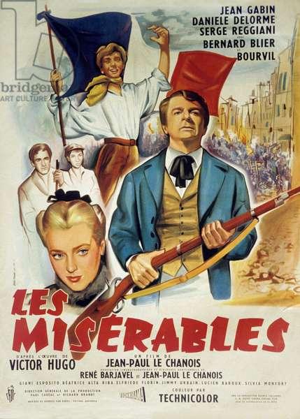 Affiche du film Les Miserables de JeanPaulLeChanois et ecrit par MichelAudiard avec Jean Gabin Bourvil et Bernard Blier 1958 (d'apres VictorHugo)