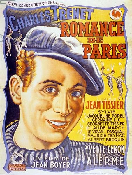 Affiche du film Romance de Paris de JeanBoyer avec Charles Trenet 1941 (affiche de Georges Dastor)