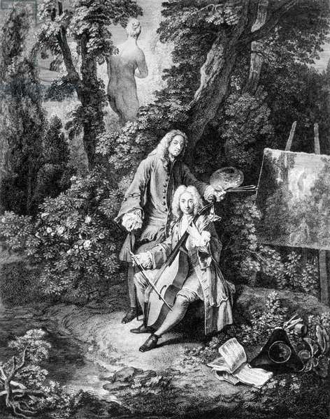 Painter Jean Antoine Watteau (1684-1721) and his friend Jean De Jullienne (1686-1766), engraving by Nicolas Henri Tardieu, 1731