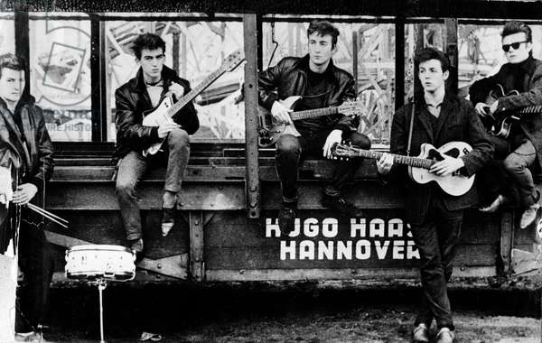 'The Quarrymen' (from left, Pete Best, George Harrison, John Lennon, Paul McCartney, Stuart Sutcliffe) in Hamburg, Germany in 1961 (b/w photo)