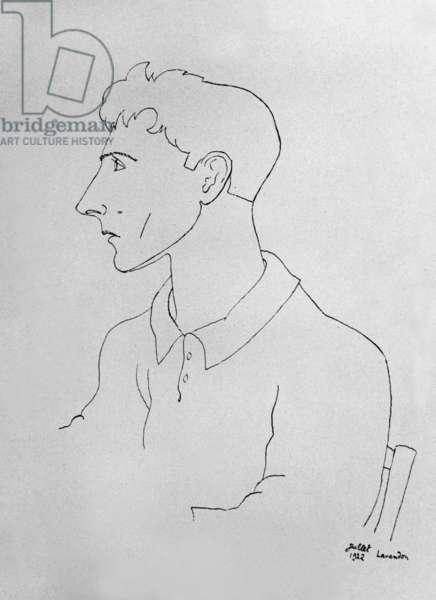 Self portrait, Le Lavandou, France, 1922 (pen & ink on paper)