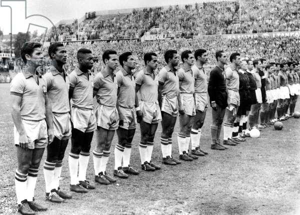 Brazil - France football teams before the game in Stokholm June 24, 1958 Pele brazilian footballer (3rd from left)