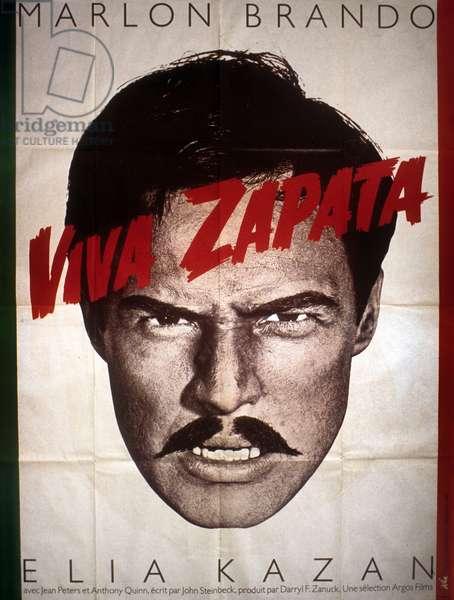 Affiche du film Viva Zapata d'Elia Kazan (scénario John Steinbeck) avec Marlon Brando, 1952.