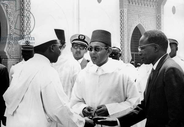 Senegalese President Leopold Sedar Senghor and King  Hassan II of Morocco at launching of mosque in Dakar March 27, 1964 welcome by minister of Estate Doudou Thiam