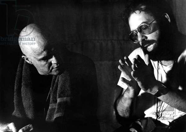 Marlon Brando and Francis Ford Coppola on set of film Apocalypse Now 1979