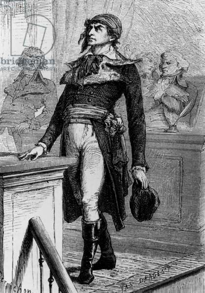 "Jean Paul Marat (1743-1793) French politician during French Revolution also physician, journalist (paper ""L'Ami du Peuple""), engraving"