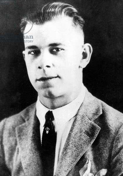John Dillinger (d, 1903-1934) American bank robber here at 18, 1921