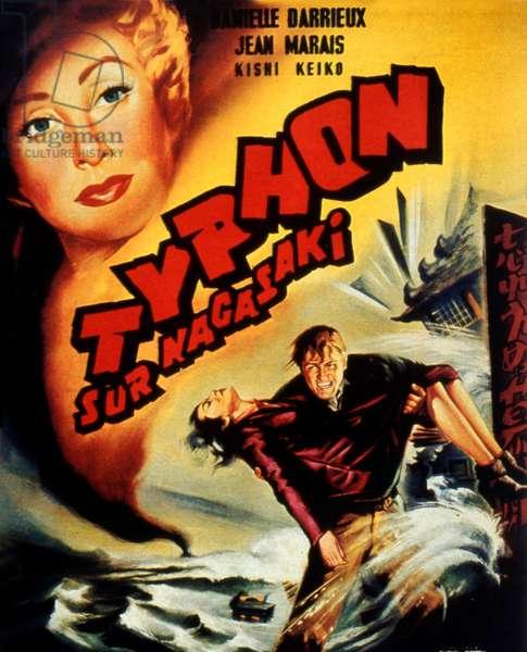 Affiche du film Typhoon sur Nagasaki de YvesCiampi avec Danielle Darrieux et Jean Marais 1957