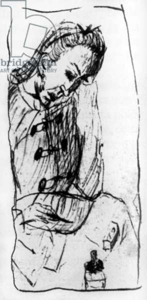 presumed portrait of Vitalie Rimbaud, mother of Arthur Rimbaud, by one of her children