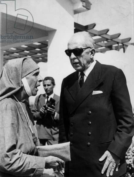 King Paul 1st of Greece and Princess Andrew of Greece (mother-in-law of Elizabeth II) September 18, 1961
