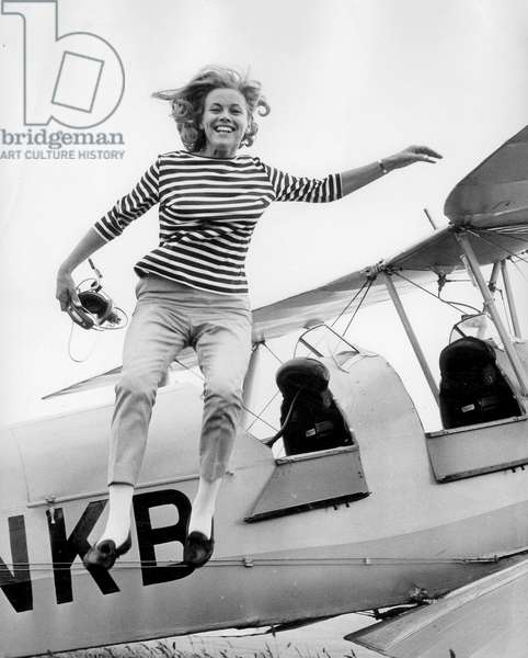 Actress Honor Blackman June 30, 1964 , here before performing James Bond Girl in film Goldfinger, at Biggin Hill Civil Airport, Kent, for flying lessons