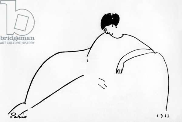 Anna Akhmatova (1889-1967) russian poet, drawing by Amedeo Modigliani, 1911, Paris