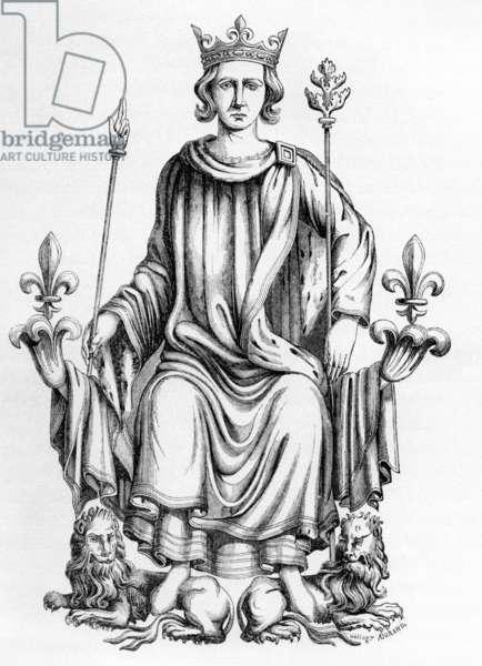 """Charles VI (1368-1422) King  of France, 1380-1422, engraving after illumination from """"Recueil des rois de France de Jean Du Tillet"""""""