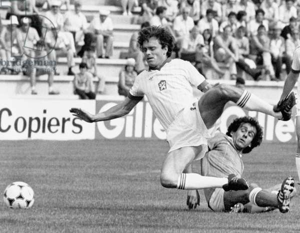 Football World Cup 1982 in Spain : France team vs Czechoslovakia team , here French Michel Platini and czech Hasny , June 1982