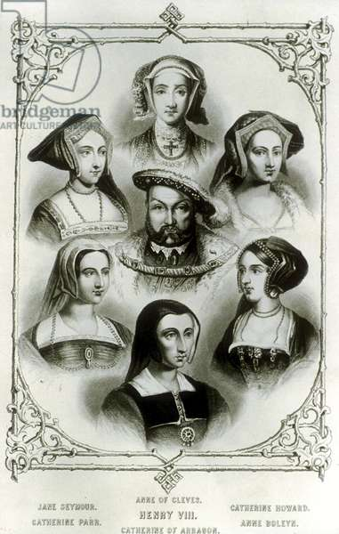 English King  enri VIII (1491-1547) with is 6 wives : top : Anne of Cleves ; on a l : Jane Seymour and Catherine Parr ; on r : Catherine Howard and Ann Boleyn ; bottom : Catherine of Aragon, engraving