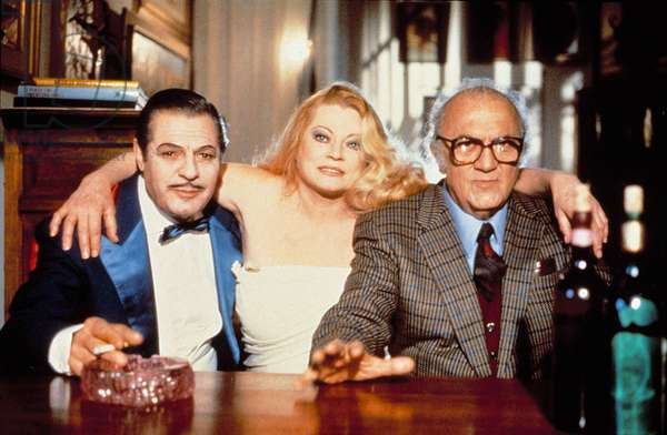 Marcello Mastroianni Anita Ekberg Federico Fellini on the shooting of Intervista 1987