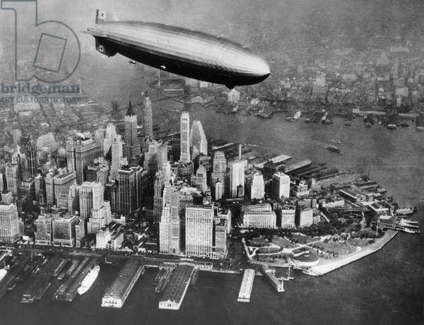 German dirigible LZ-129 Hindenburg here over Manhattan
