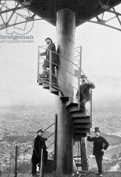 World Fair, Paris, 1889 : Gustave Eiffel in stairs at top of the Eiffel Tower