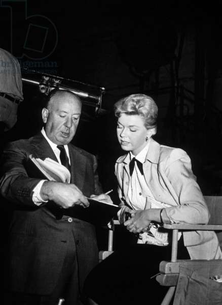 Doris Day and Alfred Hitchcock on set of film The Man who knew too much, 1956