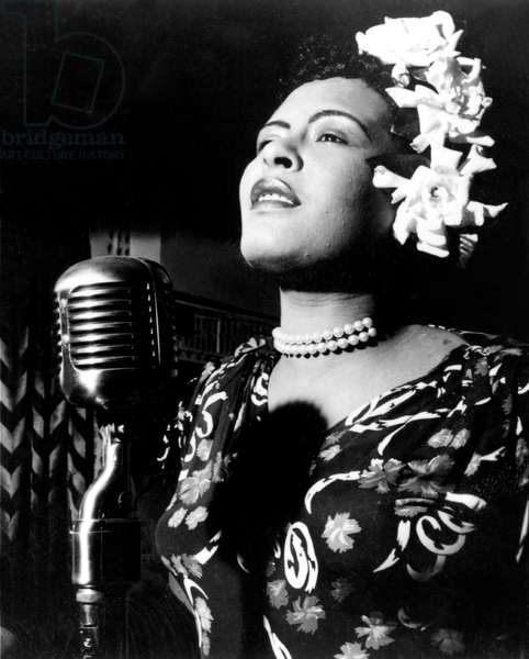 Jazz and blues Singer Billie Holiday in the 1940s (b/w photo)