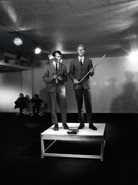 Georges Passmore and Gilbert Prousch, artists Gilbert and George, in Brussels, 1972