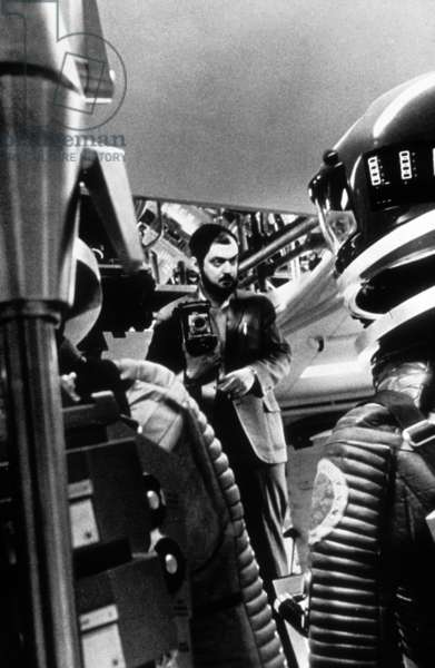 The director Stanley Kubrick during the shooting of the film 2001, the odyssey of space 1968