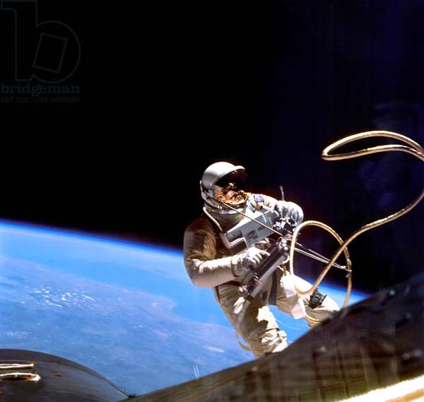 Astronaut Edward H. White II during the first US spacewalk, 3rd June 1965 (photo)