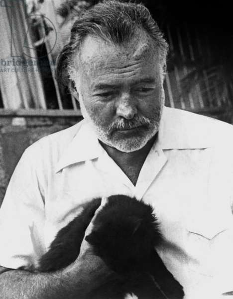Ernest Hemingway (1899-1961) American writer with a cat c. 1954