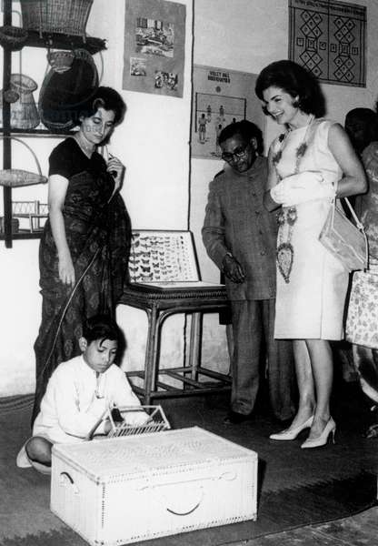 Jackie Kennedy during official visit in India here with Indira Gandhi at institutefor vagrant children September 31, 1962