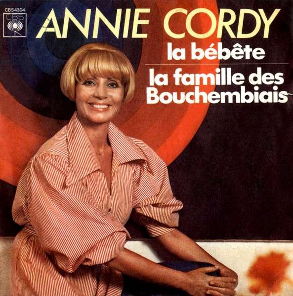 """Annie Cordy 1976 """"La bete"""" and """"La famille des bouchembiais"""" 45 rpm vinyl record sleeve"""