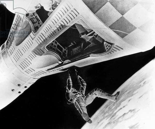 Drawing of Astronaut David Scott walking in space outside Gemini VIII space capsule 1966 (Gemini project)