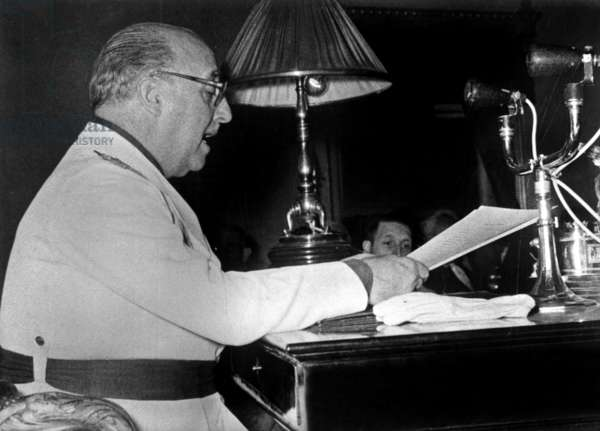 Spanish General Francisco Franco at his desk in Madrid, February 24, 1957