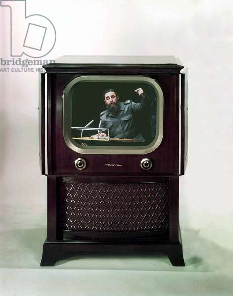 photomontage showing cuban leader Fidel Castro at television (Motorola TV) during a speech at UNO in 1979
