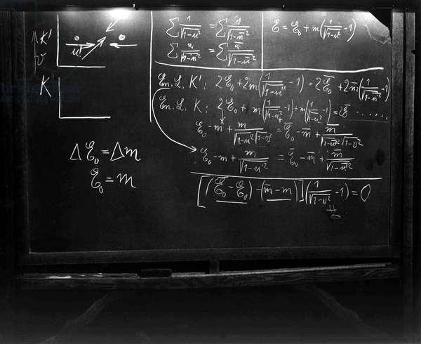 Equations written on a blackboard by Albert Einstein