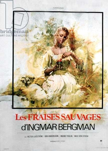 Affiche du film Les fraises sauvages d'IngMarbergman avec Bibi Anderson Ingrid Thulin et Max Von Sydow 1957