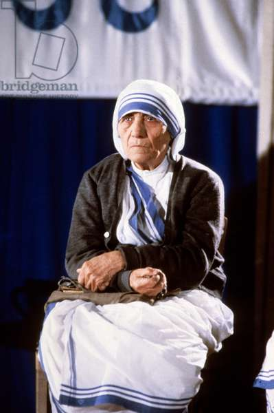 Mother Teresa (1910-1997) peace Nobel prize in 1979, here c. 1989