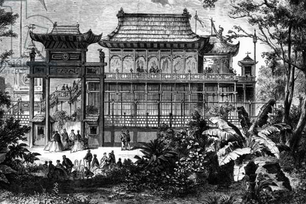 World fair, Paris, 18967 : chinese pavilion, engraving