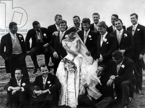 Wedding of Jackie Bouvier and John Kennedy in Hammersmith Farm, Newport, Rhode Island, September 12, 1953, near JFK : his brothers Edward and Robert photo NARA